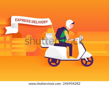 Courier riding white motorbike to deliver mails to the clients - stock vector