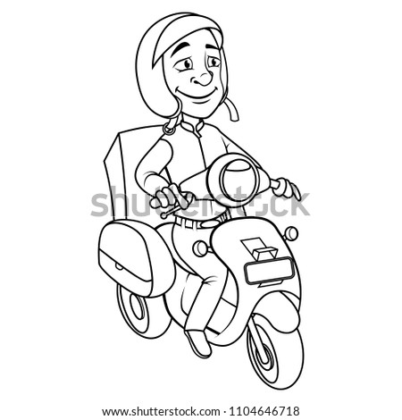 Courier Using Motorcycle Coloring Book Cartoon Stock Vector ...