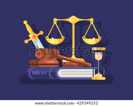 Court and law concept flat - stock vector