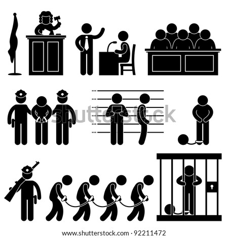 Court Judge Law Jail Prison Lawyer Jury Criminal Icon Symbol Sign Pictogram - stock vector