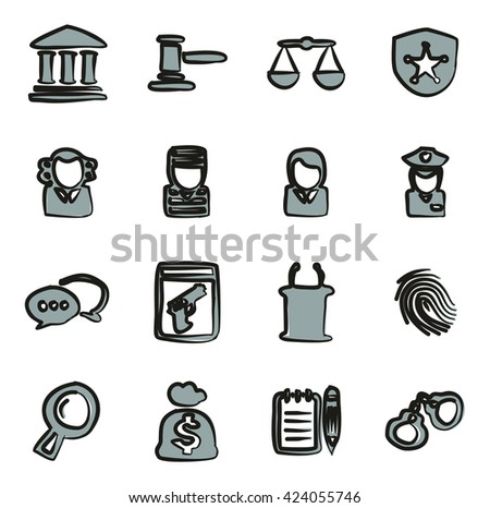 Courthouse Trial Icons Freehand 2 Color