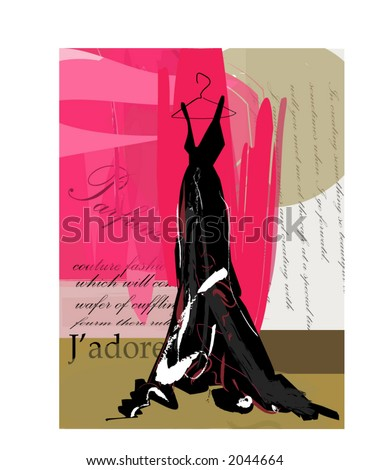 couture dress vector - stock vector