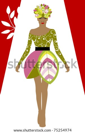 Couture fashion - environment concept - leaves for hat and skirt of dress - stock vector