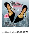 Couture fashion shoes with pattern on insoles - birdcages and tree in background - stock photo