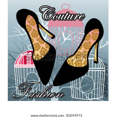 Couture fashion shoes with pattern on insoles - birdcages and tree in background - stock vector