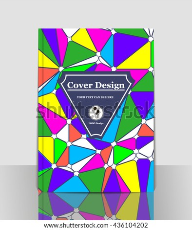 Cover A4. Blue. Bright color. Pattern. Vector Illustration. Abstract. Brochure title sheet. Book design. Mosaic. Poster. Geometric. Creative. Template layout. Leaflet.