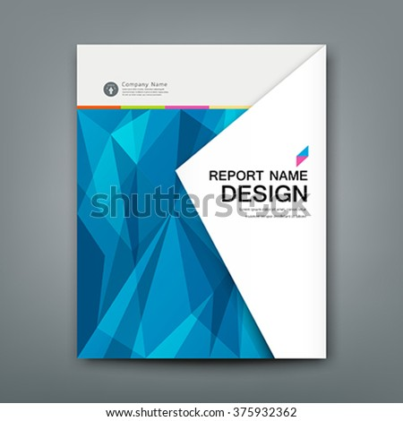 Cover Annual Report Abstract triangles geometric blue concept on white paper background, vector illustration