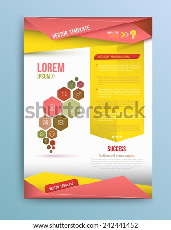 Cover Annual report, colorful bird origami paper design, vector illustration - stock vector