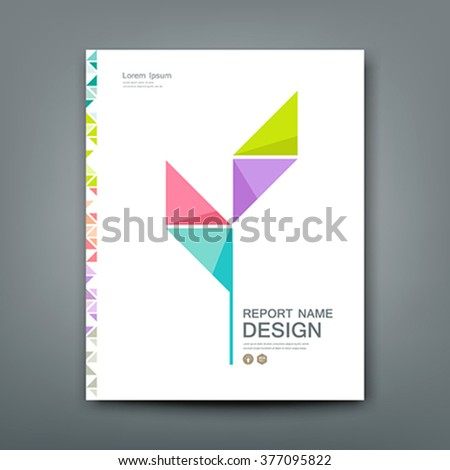 Cover Annual report colorful tree origami paper concept design, vector illustration