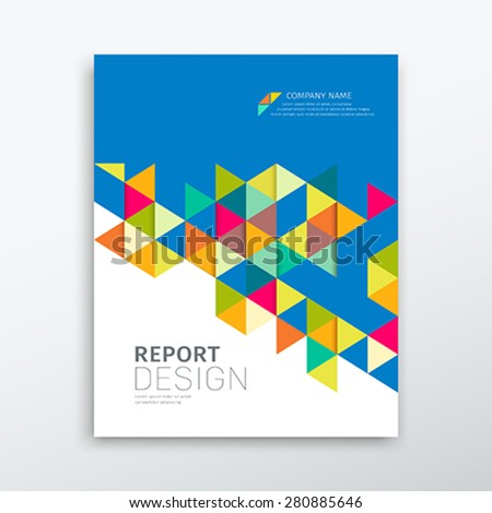 Cover annual report colorful triangles geometric design blue background, vector illustration