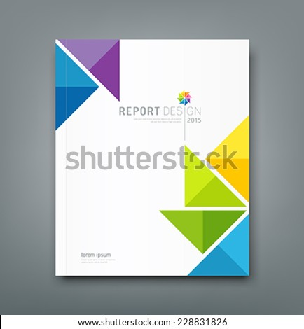 Cover Annual report, colorful windmill origami paper design background, vector illustration