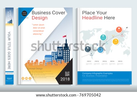 Cover Book Design Template With Presentation Infographics Elements, Use For  Annual Report, Proposal,  Proposal Cover Page Design