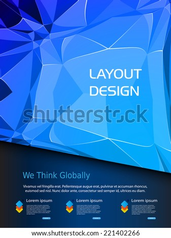 Cover brochure design blue background, template design, vector illustration - stock vector