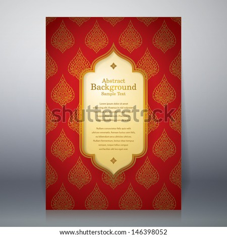 Cover Design Asian traditional art Vector. - stock vector