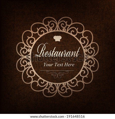 Cover design for the restaurant menu.