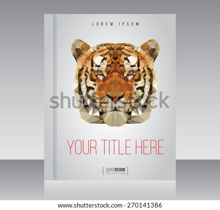 Cover design vector template with tiger, minimal style - stock vector