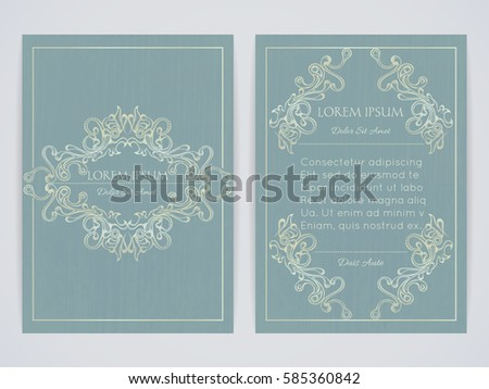 Cover design with ornamental frame. Retro style. Vintage. Ornate decoration. Brochure, flyer, invitation or certificate. Size a4. Vector illustration, eps10
