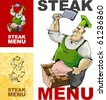 cover for menu with butcher - stock vector