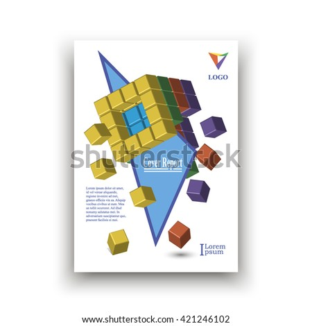 Cover of colored cubes cut blue triangle on white background with falling parts of cube, with examples title, text and logo. Vector Illustration, Abstract composition. cover report. Creative. Book  - stock vector