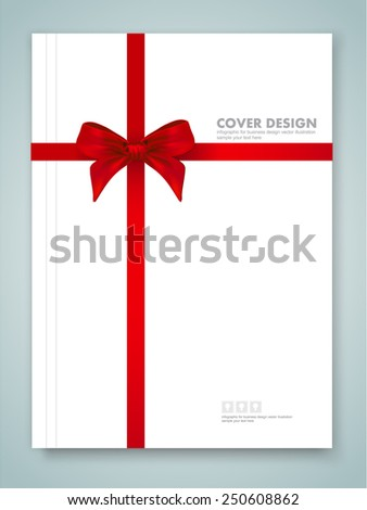 Cover report and red ribbon with bow with tails on background. vector eps 10 - stock vector