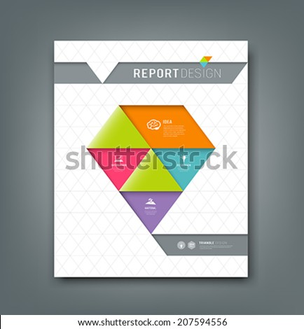 Cover report colorful origami paper triangle design background, vector illustration - stock vector