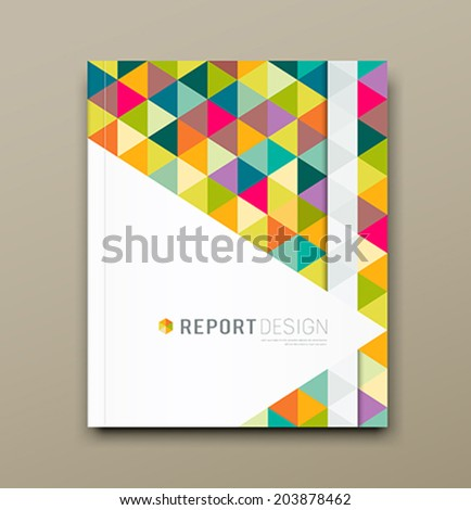 Cover report colorful triangle geometric pattern design background, vector illustration - stock vector