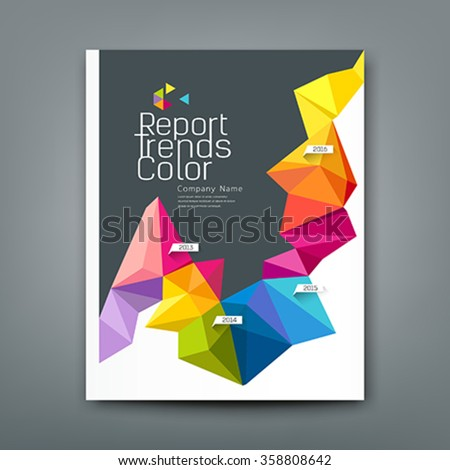 Cover report trends colorful geometric year design background, vector illustration
