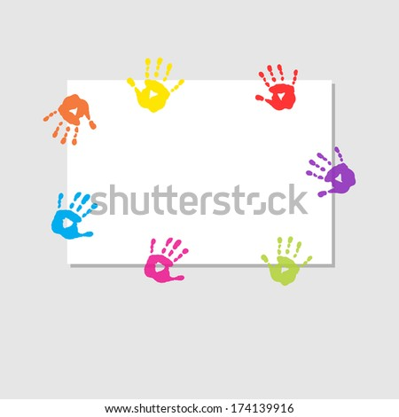 Cover sheet with a prints of children's hands - stock vector