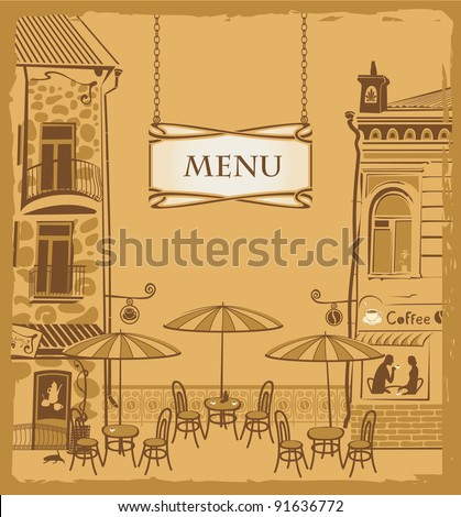 Cover with the urban cafe menu - stock vector