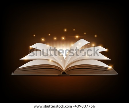 covered opened book with pages fluttering