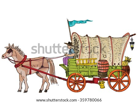 Covered wagon - cartoon - stock vector