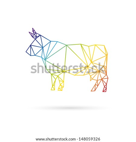 Cow abstract isolated on a white background - stock vector