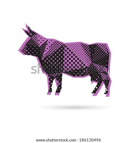 Cow abstract isolated on a white background, vector illustration - stock vector