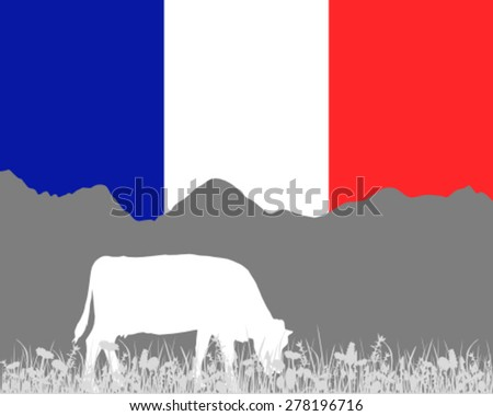 Cow alp and french flag - stock vector