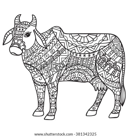 Cow Anti Stress Coloring Book For Adults Black And White Hand Drawn Vector