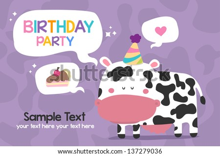 Cow Birthday Party - stock vector