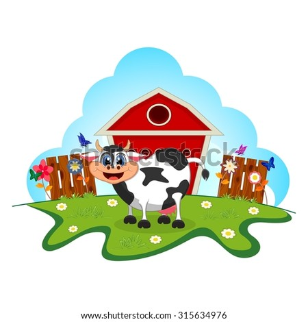 Cow cartoon in a farm for your design