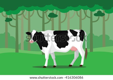 cow cattle single isolated white with green grass and tree vector illustration - stock vector