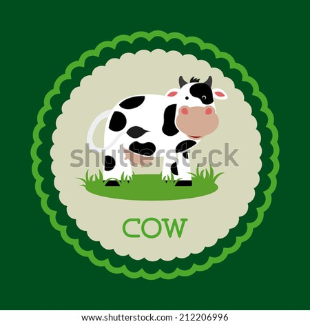 cow design over green  background vector illustration