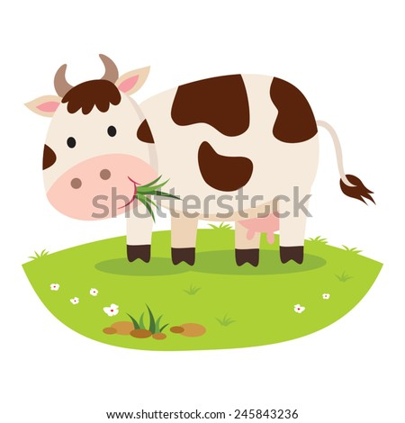 Cow eating grass. Cattle grazing. - stock vector
