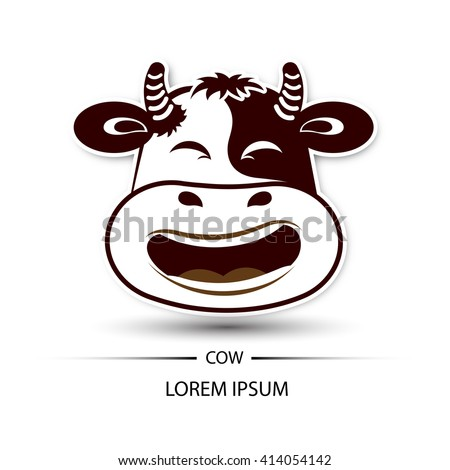 Cow face laugh logo and white background vector illustration
