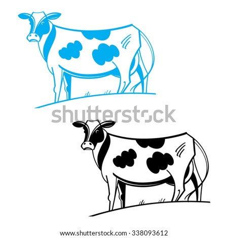 Cow - farm animal, stands in her pasture - stock vector