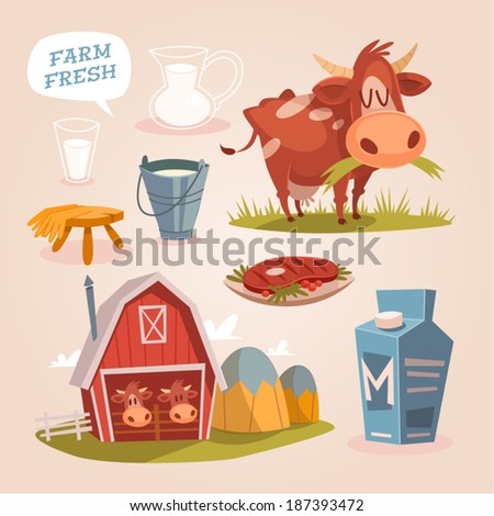Cow farm. Dairy cattle. Retro style vector elements.  - stock vector