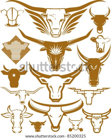 Cow Head Collection - stock vector
