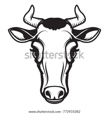Cow head illustration isolated on white background. Design element for emblem, sign, poster, label. Vector illustration