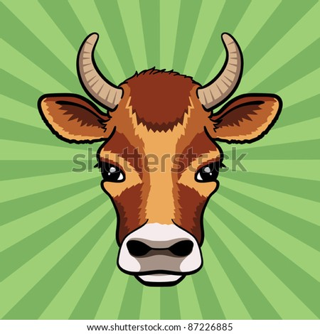 Cow head logo. Vector illustration. - stock vector