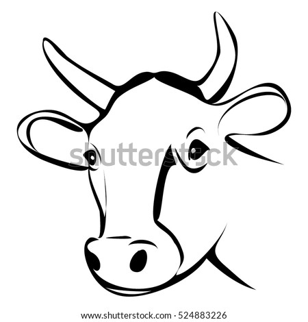 COW HEAD OUTLINE VECTOR