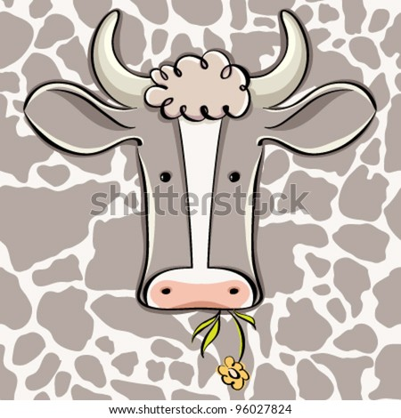 Cow head vector cartoon style icon with cow skin seamless pattern in background layer. - stock vector
