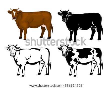 Cow Brown Color Silhouette Contour Patched Stock Vector 556914328