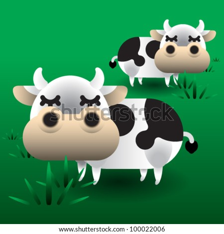 Cow in the meadow - stock vector